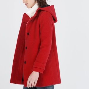 ZARA Red Hooded Coat Size XS